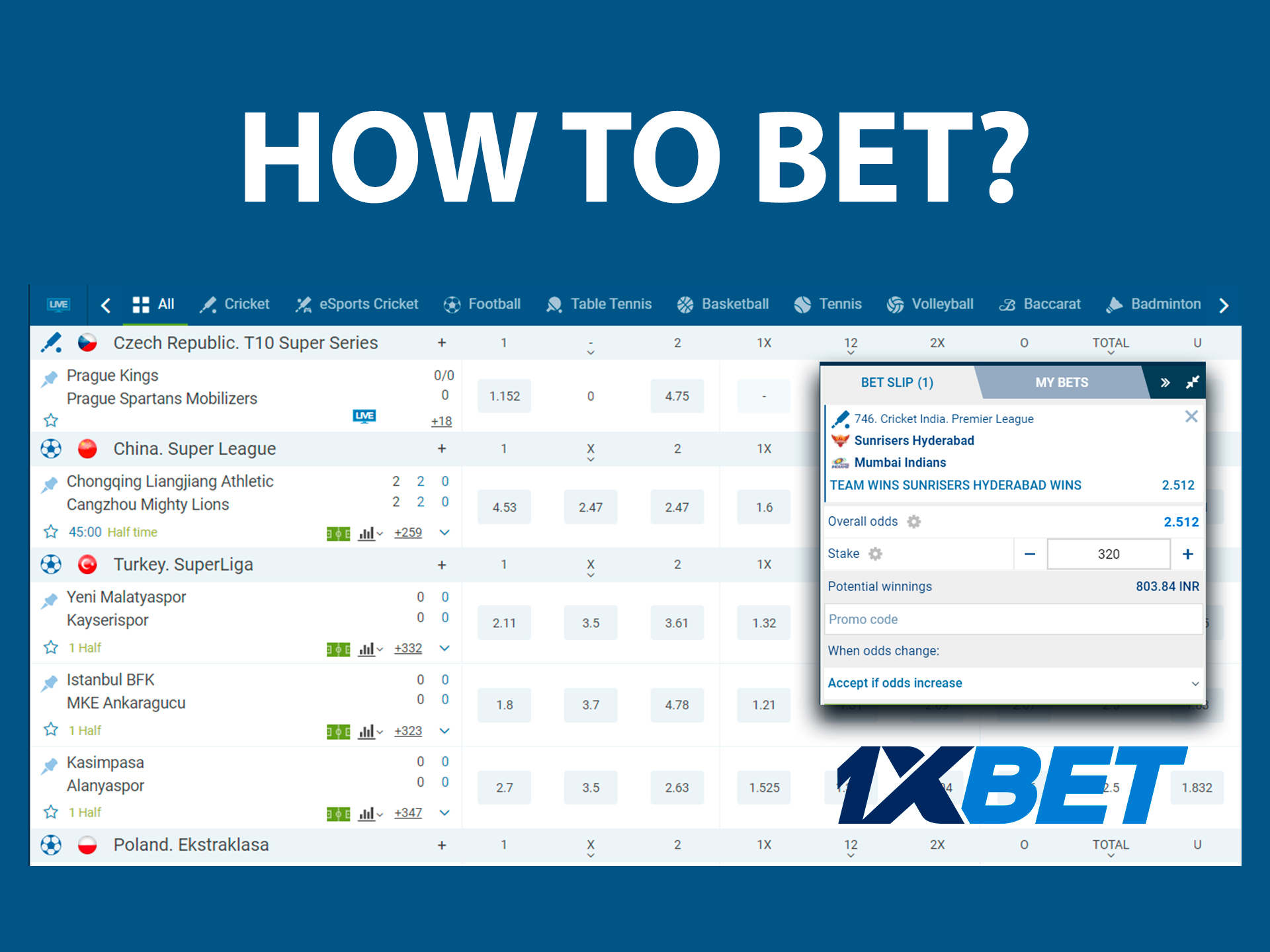 How to start betting on sports online on 1xbet?