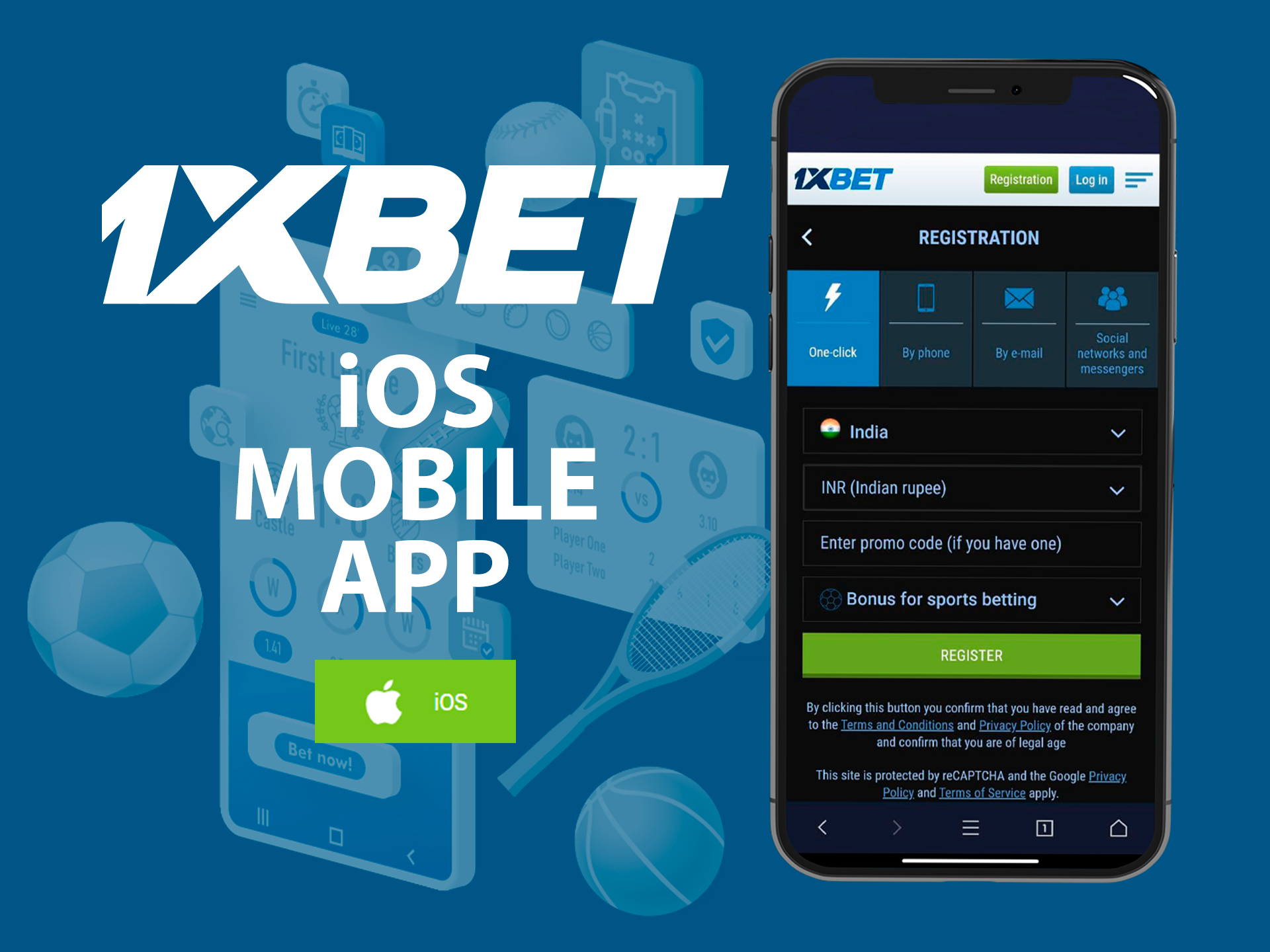 1xBet app for betting on sports on iOS devices.