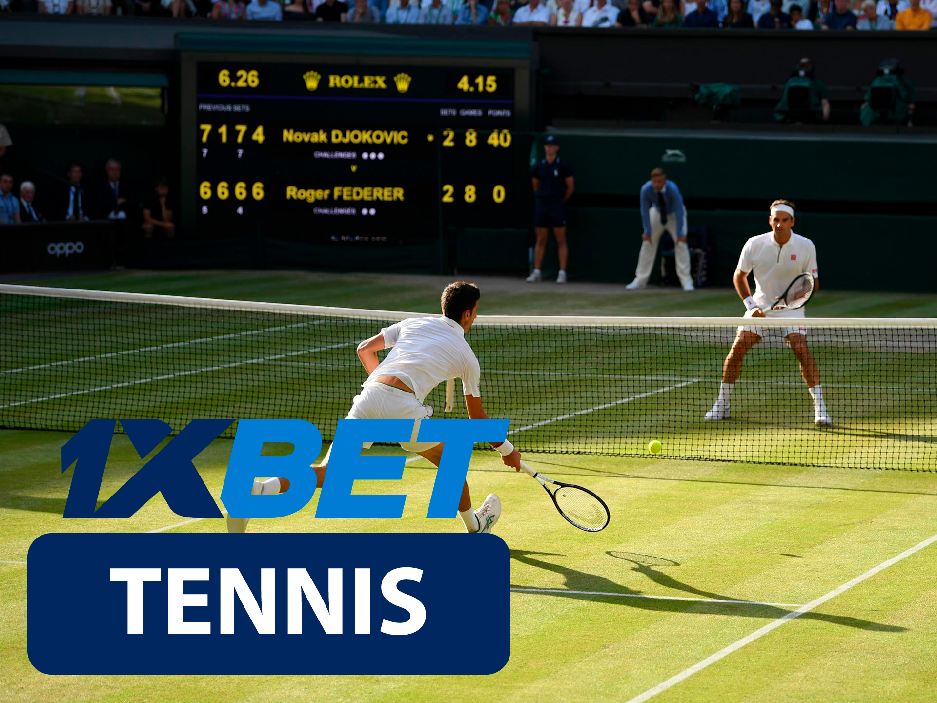 Start betting on tennis with 1xBet.
