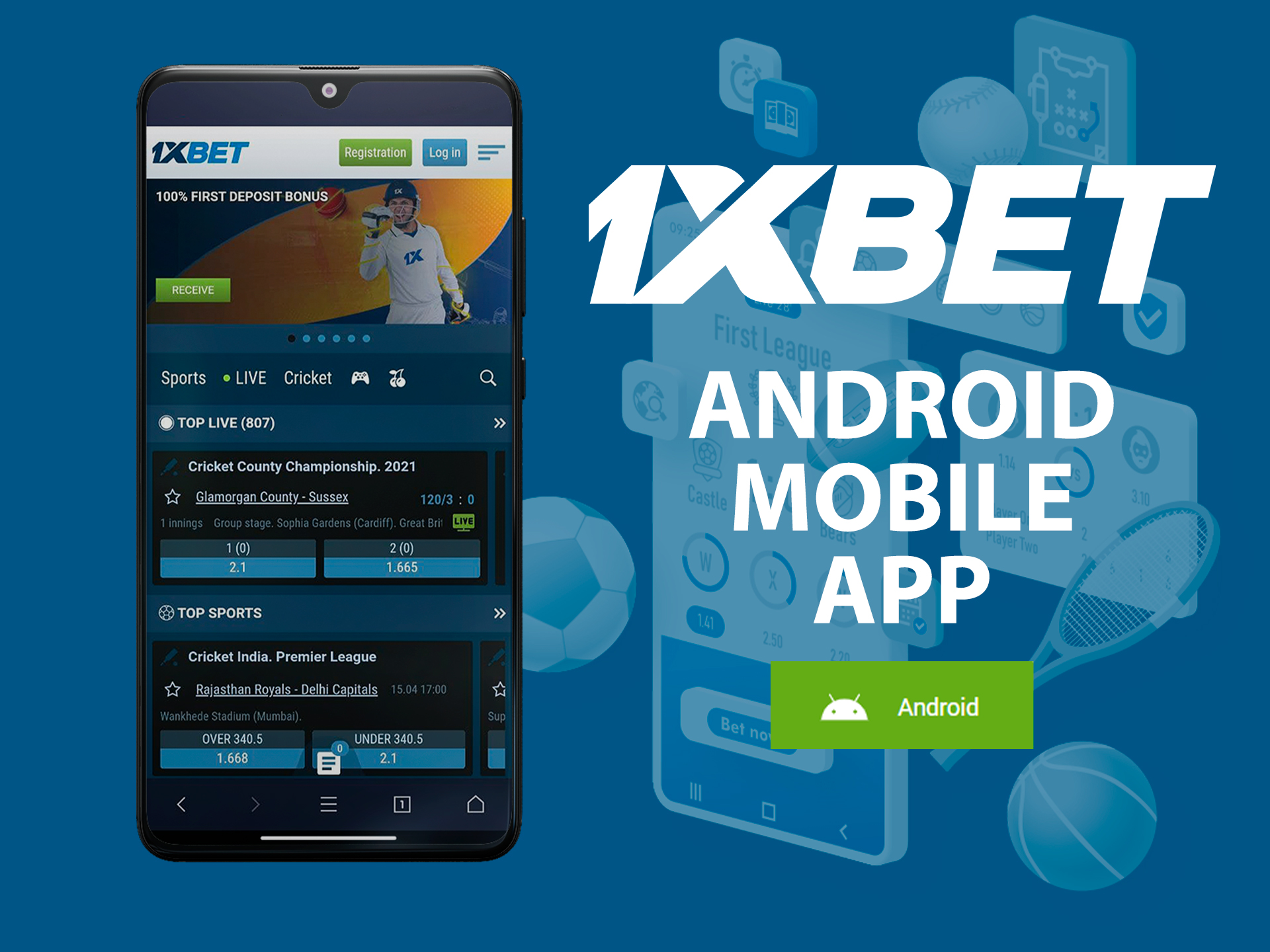 1xBet mobile sports betting app for Android devices.