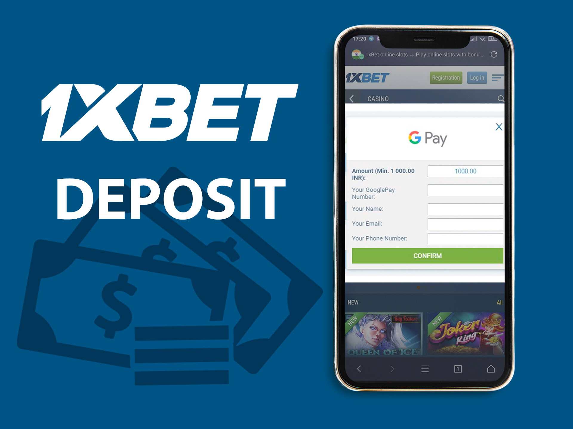 Deposit to 1xbet.
