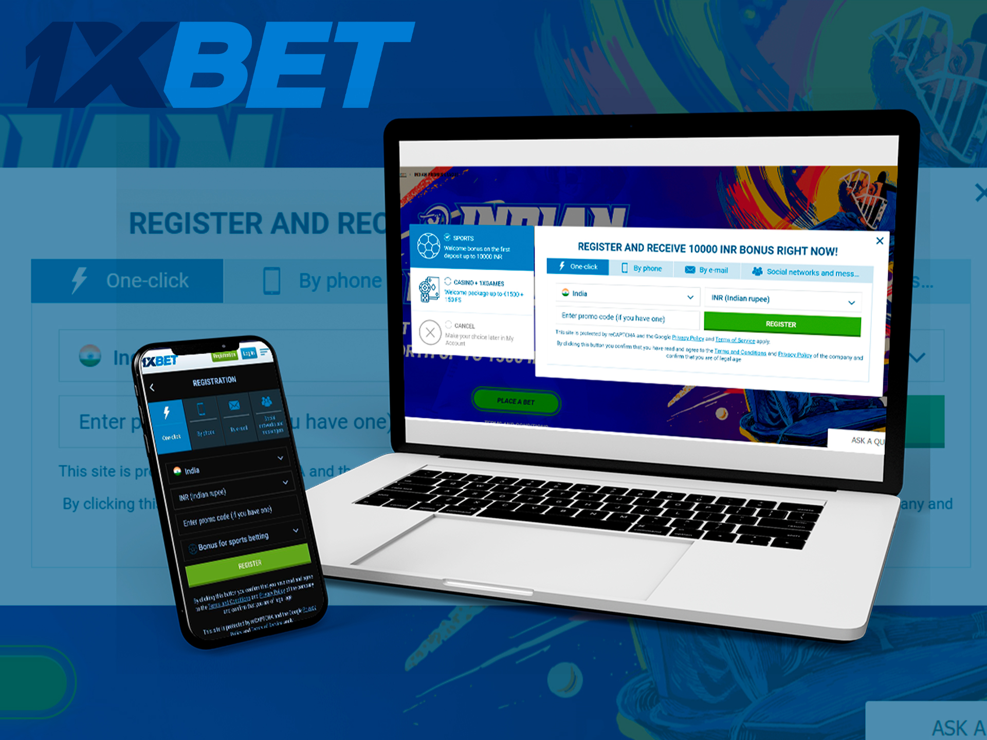 Step-by-step instructions for registering with 1xBet India.